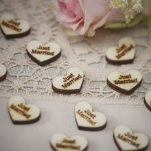 "Load image into Gallery viewer, Ginger Ray Heart Wood Confetti ""JUST MARRIED"""
