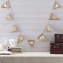 Load image into Gallery viewer, Ginger Ray Hessian Bunting with Mrs & Mrs printed