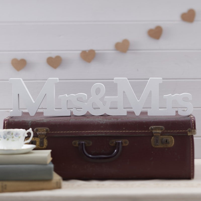 Ginger Ray Mrs & Mrs Wooden Wedding Sign in White