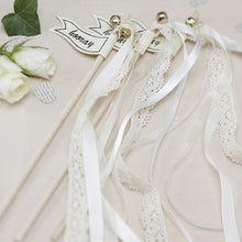 Load image into Gallery viewer, Ginger Ray Lace Wedding wands with a printed 'hooray' flag with ribbons