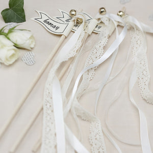 Ginger Ray Lace Wedding wands with a printed 'hooray' flag with ribbons