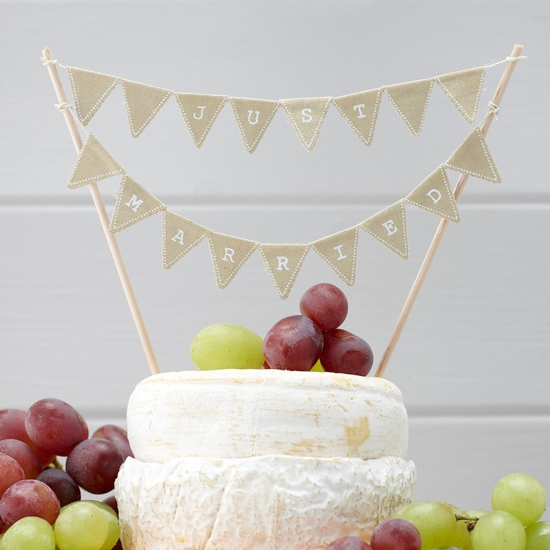 Ginger Ray White Triangular Just Married Mini Cake Bunting