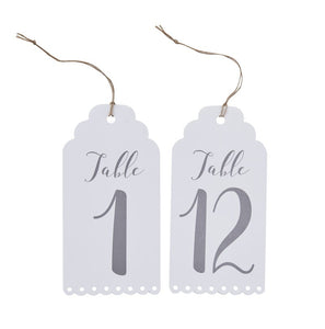 Ginger Ray White Table Numbers Luggage Tags