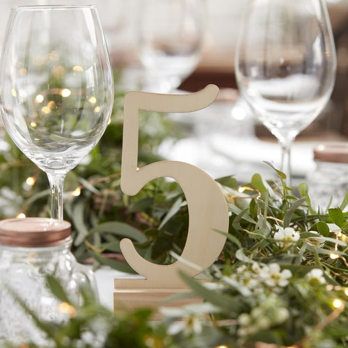 Ginger Ray Wooden Freestanding Table Numbers