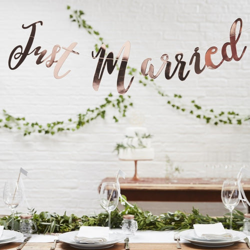 Ginger Ray Rose Gold Just Married Bunting Backdrop