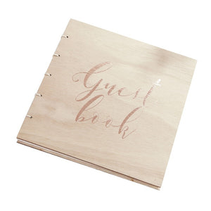 Rose Gold Wooden Wedding Guest Book