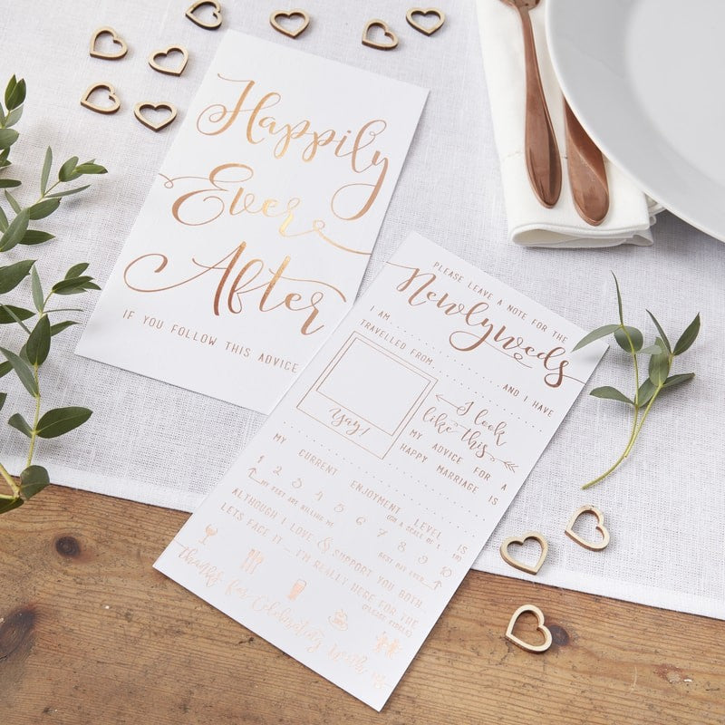 Ginger Ray rose gold foiled advice for the newlyweds cards
