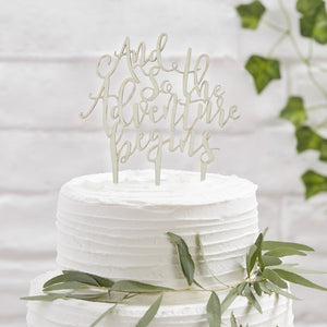 Ginger Ray 'And So The Adventure Begins' Wooden Cake Topper