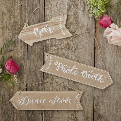 Ginger Ray Vintage Wooden Arrow Signs