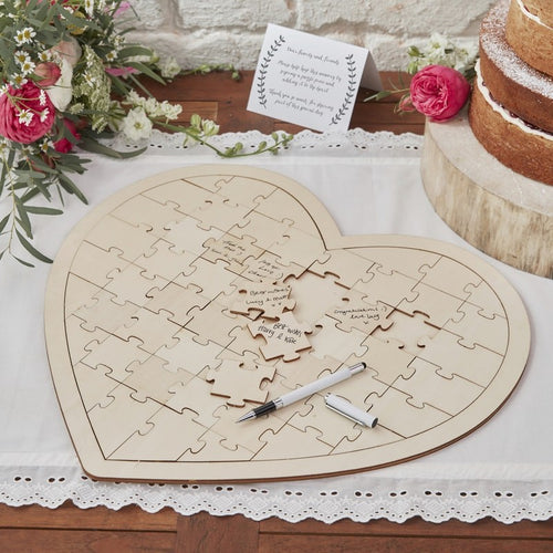 Ginger Ray Wooden Heart Jigsaw Guestbook Alternative