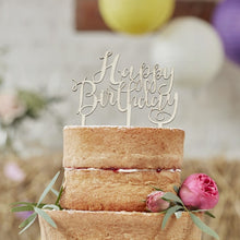 Load image into Gallery viewer, Ginger Ray Happy Birthday Wooden Cake Topper