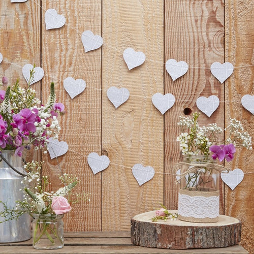 Ginger Ray Heart Newspaper Print Garland