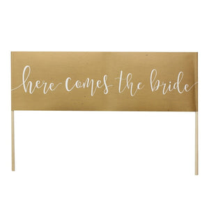 Ginger Ray Kraft 'Here Comes The Bride' sign