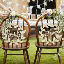 Load image into Gallery viewer, Ginger Ray Wooden Bride and Groom chairs signs