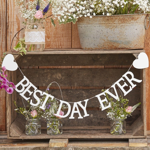 Ginger Ray White wooden Best Day Ever Bunting