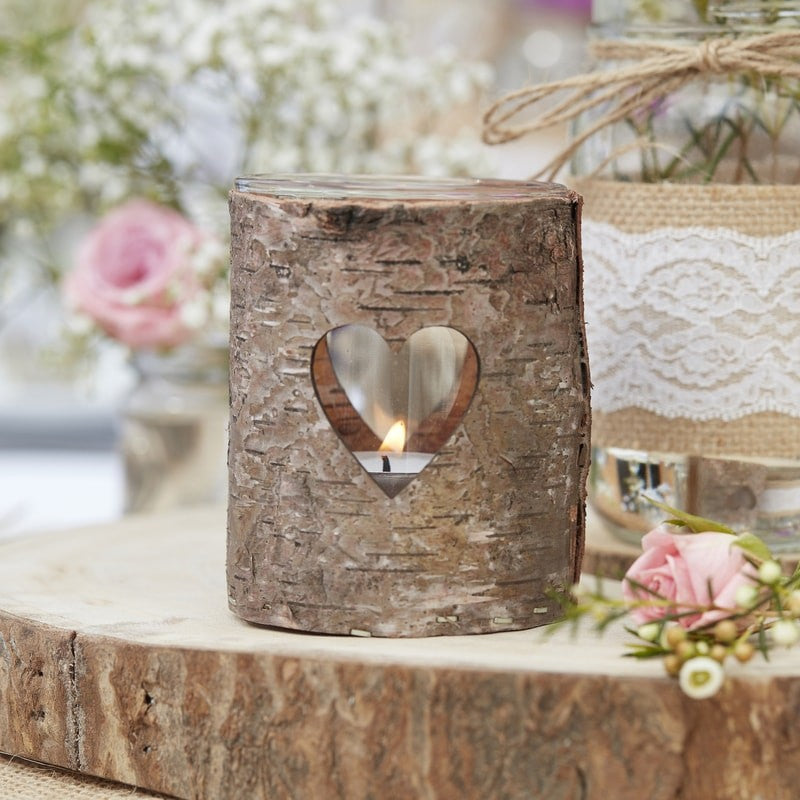 Ginger Ray Wooden heart tealight holders
