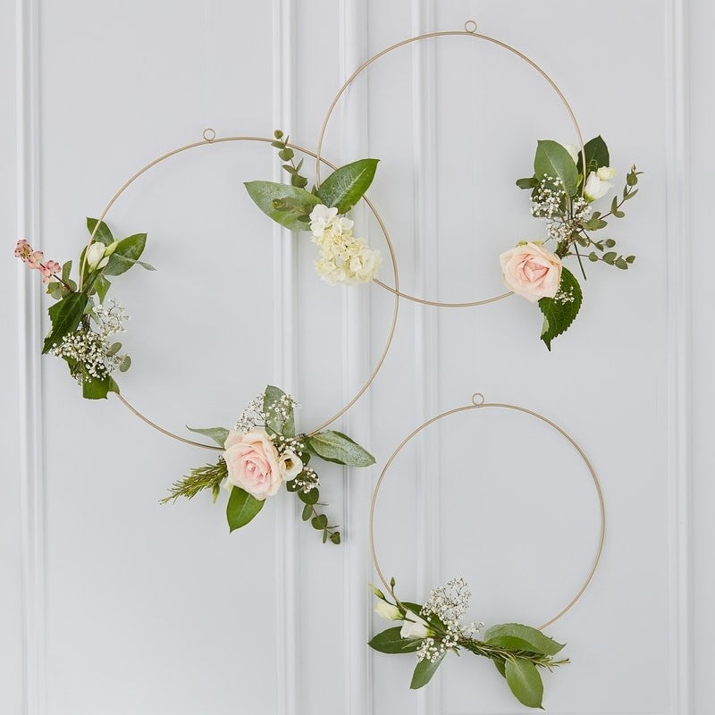 Ginger Ray Gold Floral Hanging Hoops