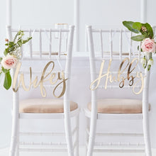 Load image into Gallery viewer, Ginger Ray Wifey & Hubby gold chair signs
