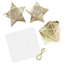 Load image into Gallery viewer, Gold Star Shaped Christmas Advent Boxes | Gold Glitter