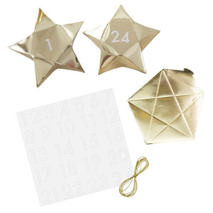 Gold Star Shaped Christmas Advent Boxes | Gold Glitter