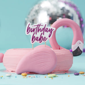 Ginger Ray Birthday Babe Pink Glitter Candle