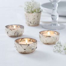 Load image into Gallery viewer, Ginger Ray Gold Checked Glass Tea Light Holder