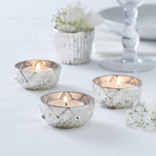 Load image into Gallery viewer, Ginger Ray Silver Checked Glass Tea Light Holder