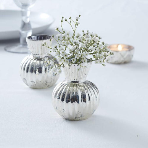 Ginger Ray Centre Piece 'Silver Ribbed Flower Vase'