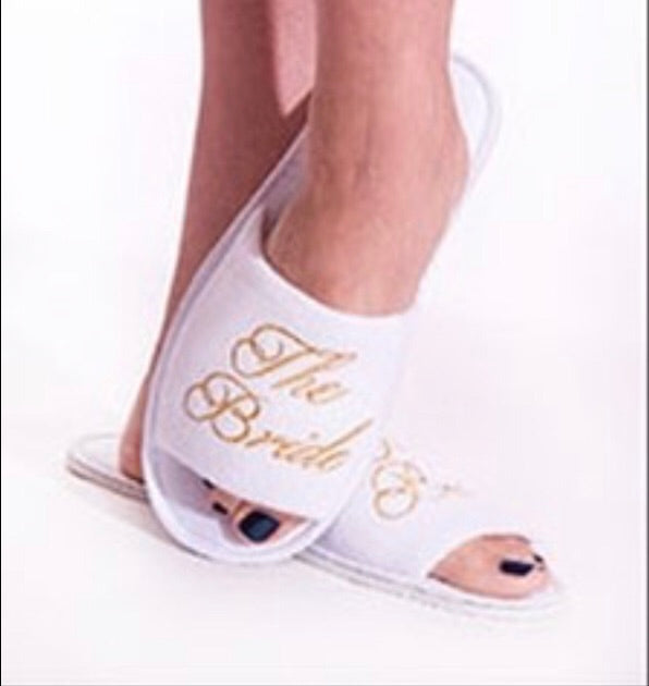 The Bride White Spa Slippers with Gold Embroidery