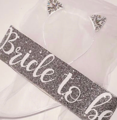 Nora & Katie Silver Kitten Ears Veil & Sash Bride Set - Blinging Bride Hen Party