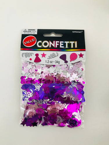 Pink, Purple & Silver Confetti Pack of 3