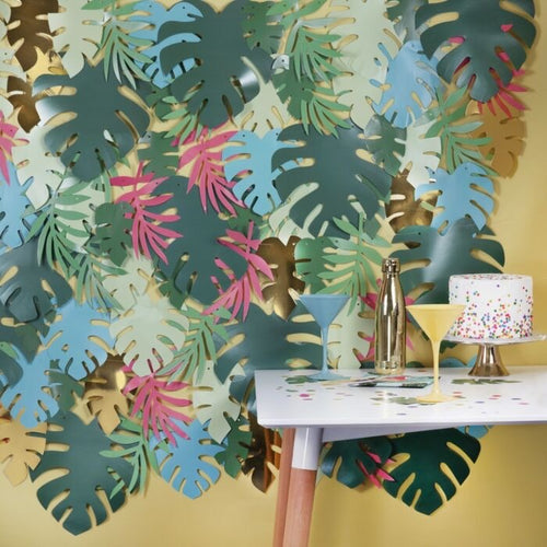 Ginger Ray Multicoloured & Gold Foiled Party Leaf Backdrop