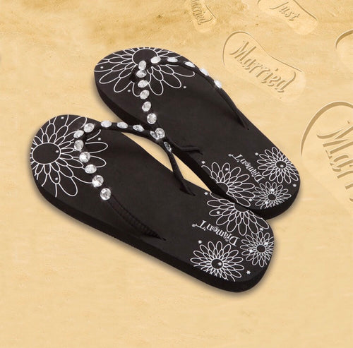 Diamon-T Black Honeymoon Just Married Sand Imprint Flip Flops