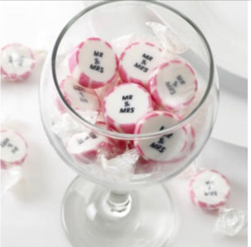 Mr & Mrs Pink Rock Sweets Pack of 50