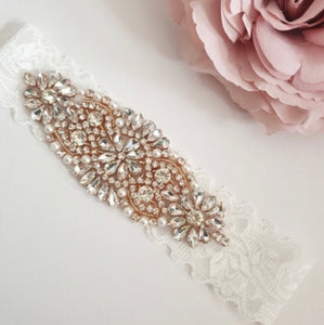 Nora & Katie Rose Gold Bride Garter