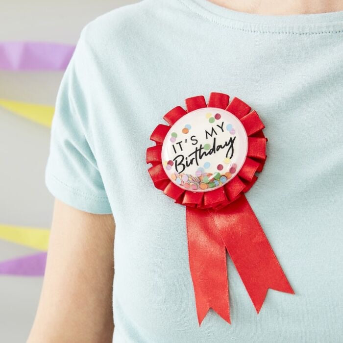 Ginger Ray Red Rosette Bubble Birthday Badge