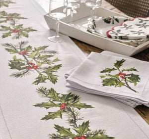 Talking Tables Botanical Holly Fabric Napkins Pack of 4