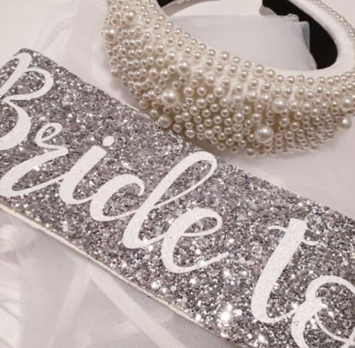 Nora & Katie Large Pearl Hairband with Bride to be Sash - Bling Bride Party