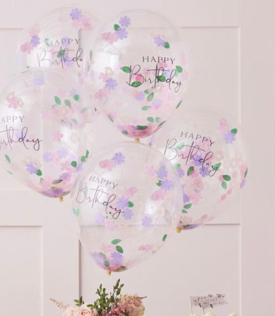 Ginger Ray Floral Confetti Happy Birthday Balloons
