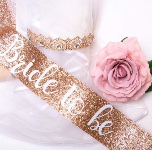 Nora & Katie Bride to be Glitter Sash, Crown, Veil & Gift  Set