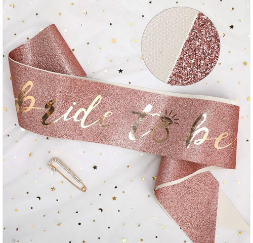 Rose Gold Glitter Pink Bride to Be Sash