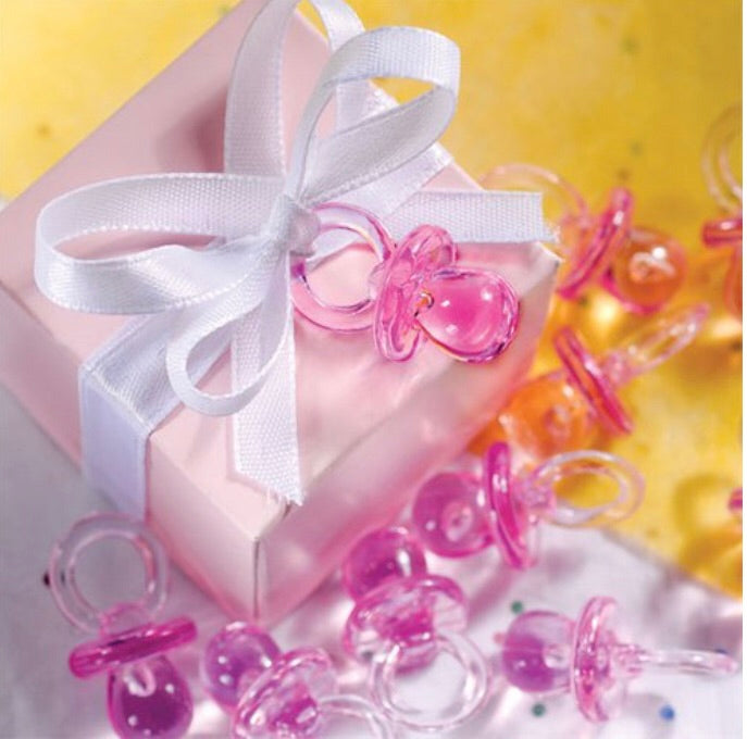 Pink Crystal Dummy's Baby Shower Favours Pack of 24