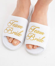 Load image into Gallery viewer, Team Bride White Spa Slippers with Gold Embroidery