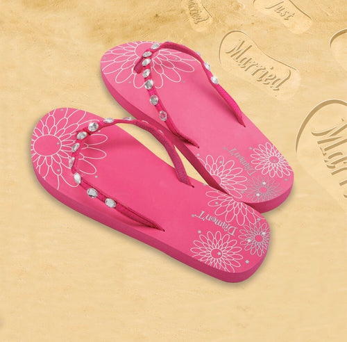 Diamon-T Pink Honeymoon Just Married Sand Imprint Flip Flops