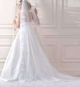 Lacey Bell Cathedral Length Lace Edge Bridal Veil 138 Inches One-Tier