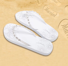 Load image into Gallery viewer, Diamon-T White Honeymoon Just Married Sand Imprint Flip Flops