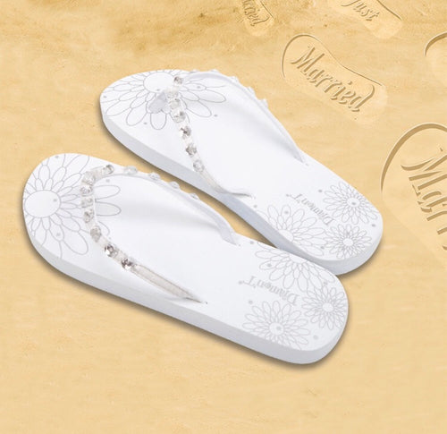 Diamon-T White Honeymoon Just Married Sand Imprint Flip Flops