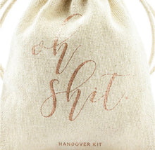 Load image into Gallery viewer, Rose Gold 'Oh Shit' Cotton Hangover Kit Pouches