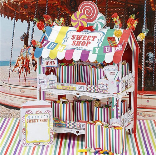 Multi Coloured Stripe Sweet Shop Stall