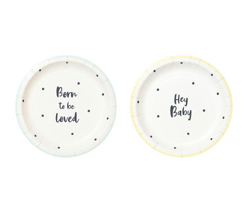 Talking Tables Hey Baby Born to be Loved Paper Plates